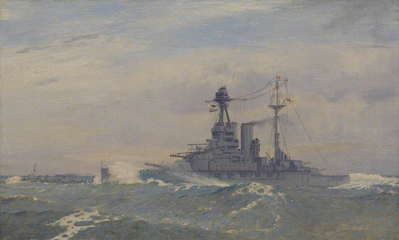 """""""HMS Queen Elizabeth"""" by Charles Pears. he Royal Society of Marine Artists; Supplied by The Public Catalogue Foundation"""