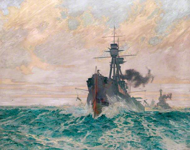 """""""Streaming the para-vanes"""" by Charles Pears. The Royal Society of Marine Artists; Supplied by The Public Catalogue Foundation"""