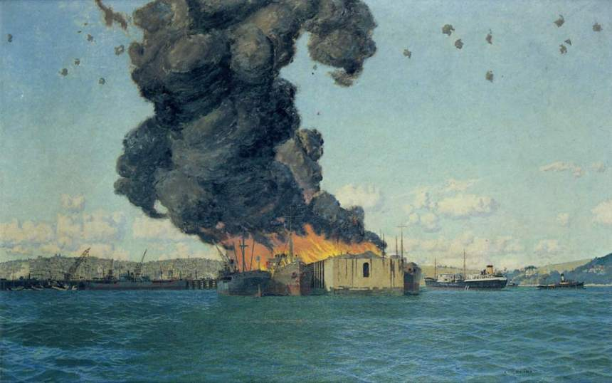 """""""The Bombing of The British Chancellor in Falmouth Docks, 1940"""" by Charles Pears"""