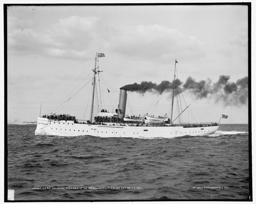 U.S.R.C. Gresham, flagship of the patrol fleet, America's Cup races. Library of Congress photo.