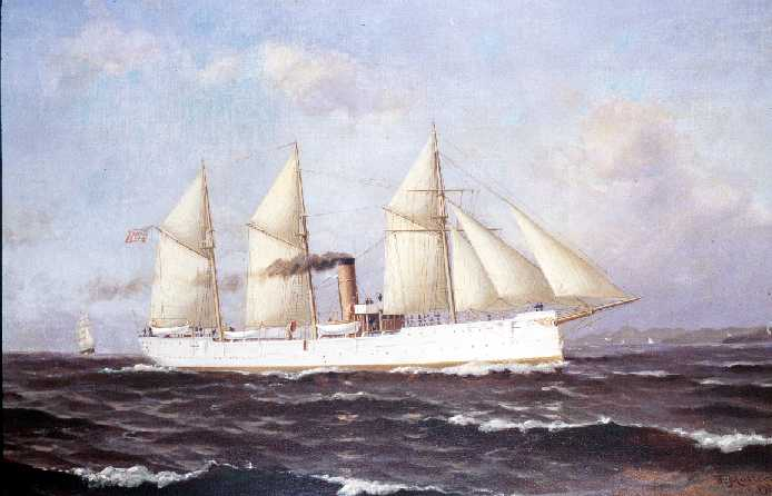 USRC McCulloch in full rig. Note that McCulloch is indicative of the five ship class she came from with the exception of having a three-masted barquentine rig where as the other ships, being about 15-feet shorter, had a two mast brigantine auxillary rig. Painting, Coast Guard Academy Museum Art Collection.