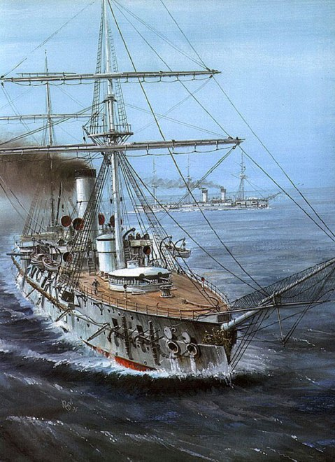 Vladimir-Emyshev's rendering of the batttle cruiser Admiral Nakhimov at Tsushima.