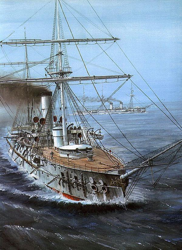 Vladimir-Emyshev's rendering of the batttle cruiser Admiral Nakhimov at Tsushima.