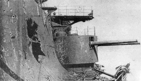 Damage to her side belt. Note the 6-inch turret