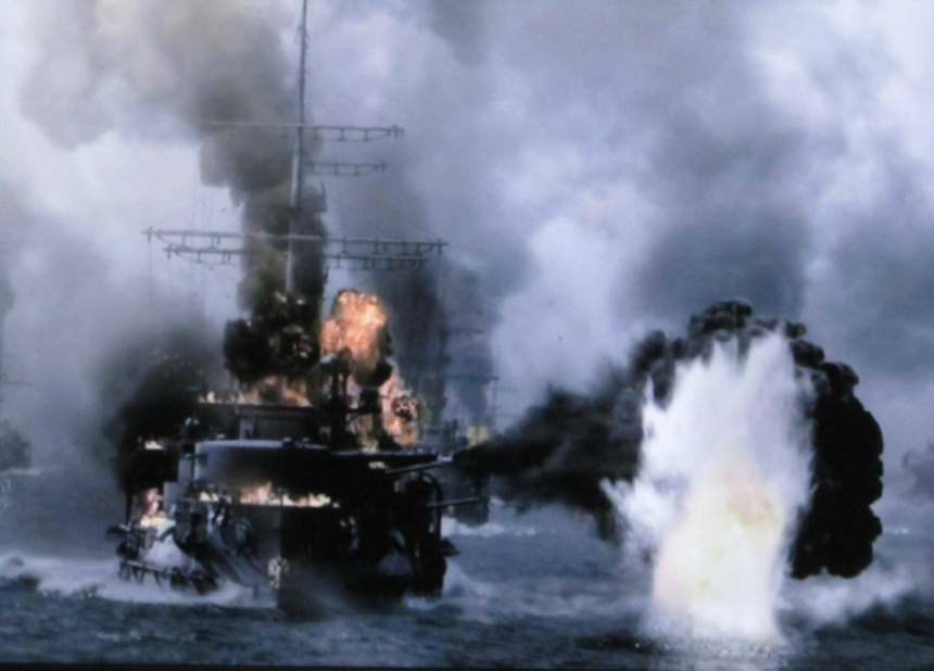 Computer generated image of a Borodino Class Battleship in action at Tsushima. Tsarevitch had her turn in the barrel in August 1904 and four out of five of her sisters would sink the following Spring in that epic naval clash.