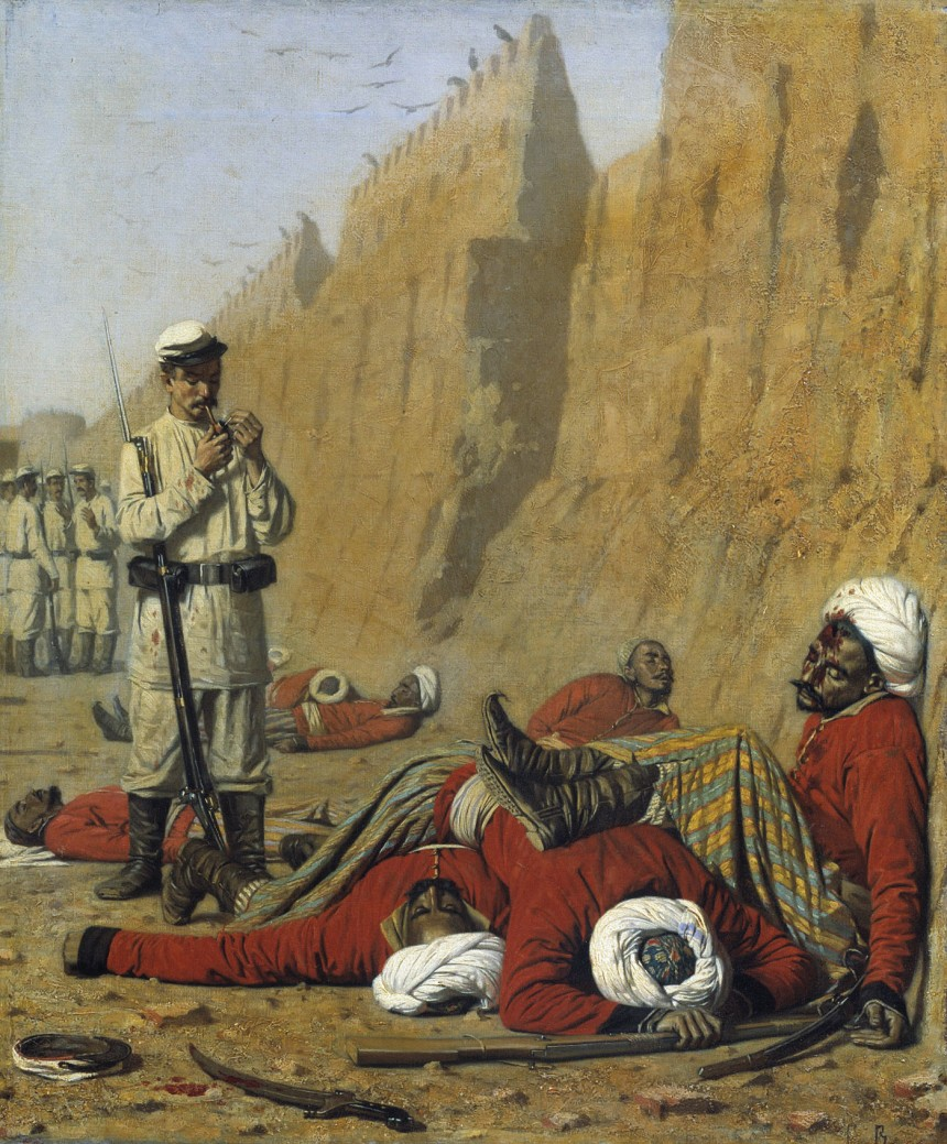 """""""After Failure,"""" Turkestan series, painted in 1868. Note the calm demeanor on the Russian trooper's face as he lights his pipe."""
