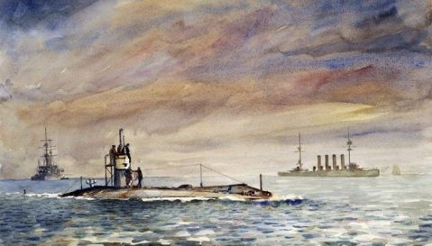 British A-class submarine and armored cruiser Aboukir, spring 1914 by William A. Lewis   watercolor   22″ x 15″   1990-2010