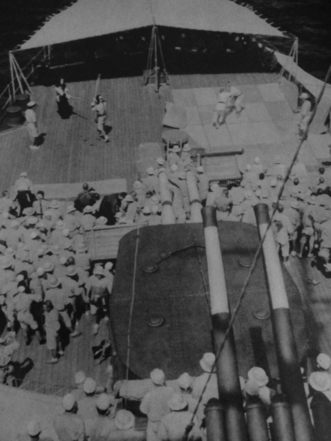 Martial arts matches aboard Japanese light cruiser
