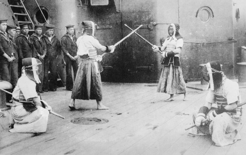 Kendo being practiced on the deck of an unnamed Japanese battleship, 1915.