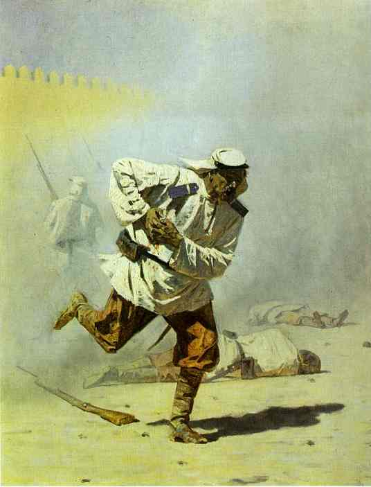 """""""Mortally Wounded,"""" Turkestan series, painted in 1873"""