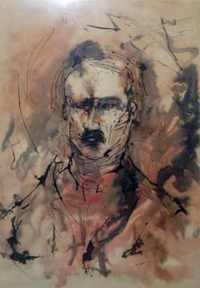 """"""" E.A. Poe"""" Watercolor by William A. Lewis, 1959 at the Poe Museum in Baltimore https://www.poemuseum.org/collection-details.php?id=138"""