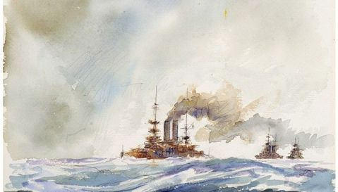 Revenge in the Lead – British pre-dreadnaughts patrolling in the English Channel, July 1914 by William A. Lewis   watercolor   15″ x 11″   1989