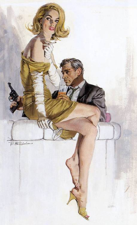 McGinnis artwork forumla example number 3.  Toughguy+ mysterious long legged lady= buy this book!