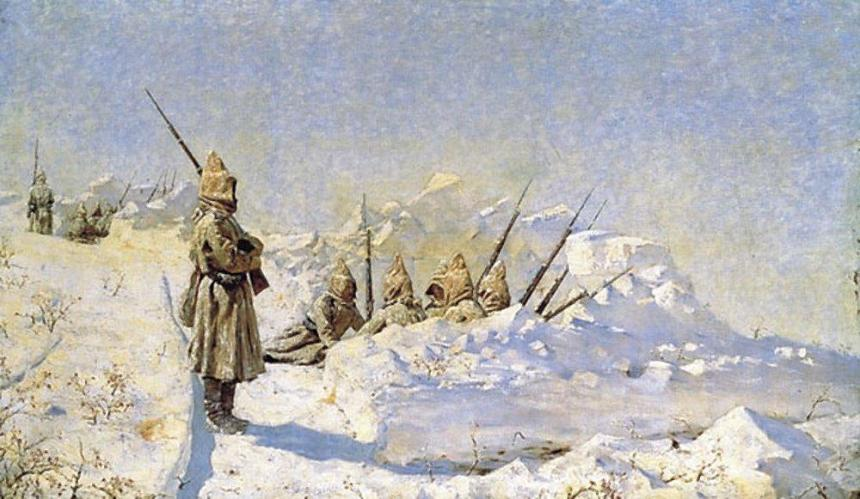 """""""Snowy Trenches, Russian positions along the Shipka Pass 1877."""" Painted in 1881 by Vasili Verestchagin. It should be noted that the artist's brother was killed during this campaign."""