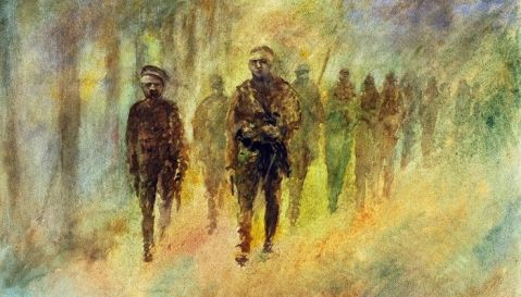 The Retreat from Antwerp – British Marines and Belgian soldiers, October, 1914 by William A. Lewis   acrylic   22″ x 15″   2009