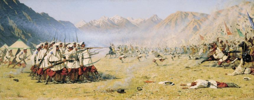 """""""They Attack Unawares, """" Turkestan series by Vasili Verestchagin"""
