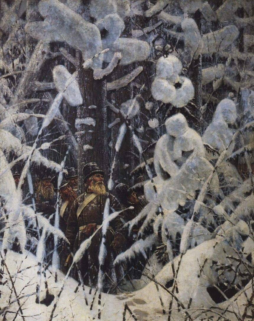 """""""Hold on! Let them get closer!"""" -- Russian partisans wait to attack French army stragglers during the Great Retreat, by Vasili Verestchagin"""