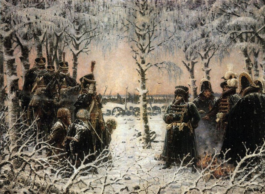 """""""Shoot those with weapons in their hands"""" goes the order from Napoleon on captured Russian civilians/partisans, by Vasili Verestchagin"""