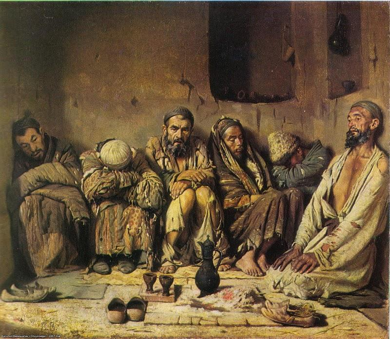 """""""Eaters of Opium,"""" by Vasili Verestchagin.The artist was one of the best-traveled gentlemen of his day, having moved about Europe, Asia and Africa extensively."""