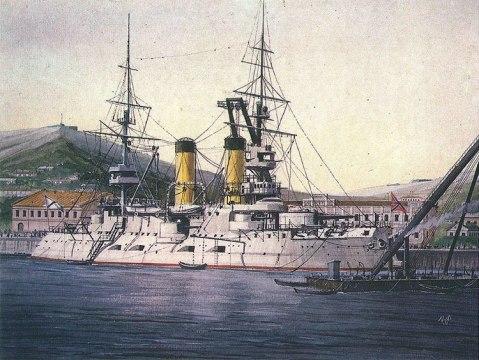 "Vladimir-Emyshev's painting ""Battleship Tsesarevitch"""