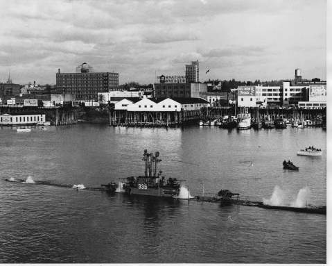 """(Courtesy of CDR Chester C. Culp Jr & submitted by Chris Culp, son of the EB """"official"""" boat photographer of the Catfish (SS-339) from 1945-1953.Photo via Navsource)  Click to big up."""
