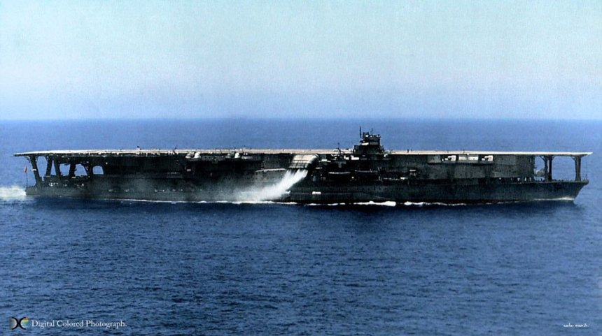Kaga after her modifications. Note how the funnel now shifts steam/smoke amidships just abaft of the island