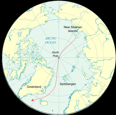 Nansen's planned drift, via Wiki.