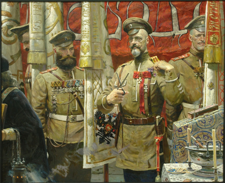 """Abdication"" by Pavel Ryzhenko, portraying Colonel Alexander Pavlovich Kutepov, the last commander of the Preobrazhensky Regiment of Foot Guards and the man who held the Winter Palace during the March Revolution removing his shoulder straps after hearing of the end of the 304-year Romanov reign coming to an end. Kutepov would later become an important leader of the Whites during the Civil War"