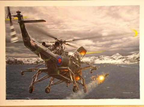 """""""The Hunt"""" Painted by Daniel Bechennec shows the moment the Westland Wasp HAS.1 XS527 from HMS Endurance  launches a AS-12 missile on the submarine ARA Santa Fe  This hardy helicopter, crewed by Tony Ellerbeck and David Wells, attacked the Santa Fe three times in quick succession, firing a total of 6 AS-12s at the boat."""