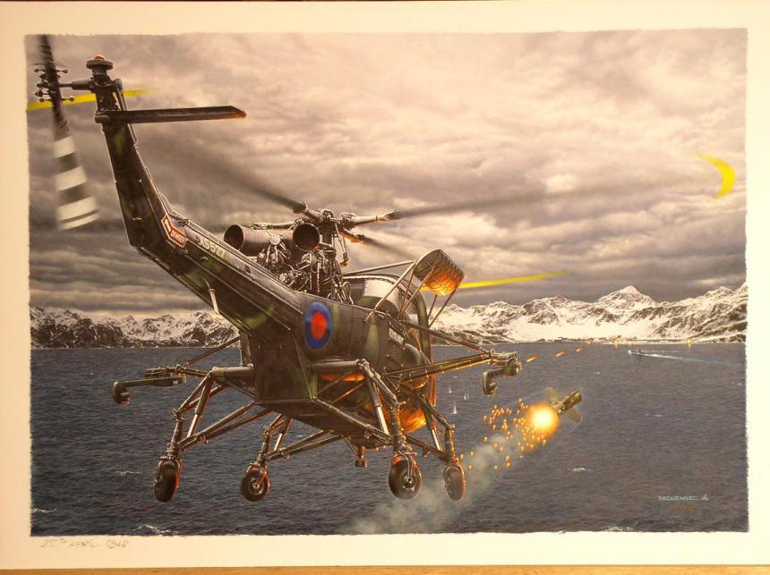 """The Hunt"" Painted by Daniel Bechennec shows the moment the Westland Wasp HAS.1 XS527 from HMS Endurance launches a AS-12 missile on the submarine ARA Santa Fe This hardy helicopter, crewed by Tony Ellerbeck and David Wells, attacked the Santa Fe three times in quick succession, firing a total of 6 AS-12s at the boat."
