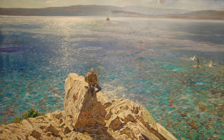 """""""Athos"""" by Pavel Ryzhenko. Depicts a Russian Orthodox pilgrim staring up at the monastery of Mt.Athos in Greece, one of the most holy spots in that religion."""