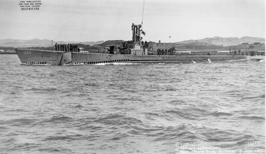 Catfish (SS-339) off Mare Island on 9 June 1947 usn photo