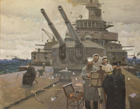 """Faith, Tsar and Fatherland 1905 Forgotten War"" by Pavel Viktorovich Ryzhenko showing Russian military artist Vasili Verestchagin aboard battleship Petropavlovsk with Admiral Makarov just before it sank. I love the sailors in the background."