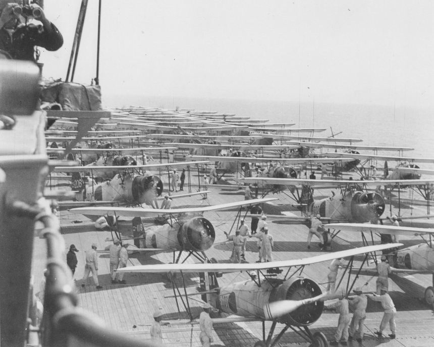 Imperial Japanese Navy aircraft carrier Kaga conducts air operations in 1937. On the deck are Mitsubishi B2M Type 89, Nakajima A2N Type 90, and Aichi D1A1 Type 94 aircraft