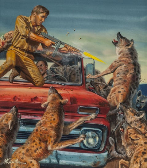 Night of the Hyenas Male magazine cover, March 1969 Mort Künstler  Source Heritage Auctions  http://fineart.ha.com/itm/illustration-art/mort-kunstler-american-b-1931-night-of-the-hyenas-male-magazine-cover-march-1969-gouache-on-bo/p/699-116007.s#1200412004152