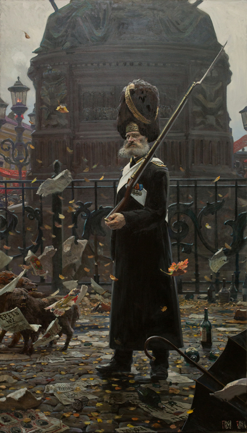 """""""Palace grenadiers"""" by Pavel Viktorovich Ryzhenko. This unit was the most elite of the Imperial Guard, made up of 100 retired Senior NCOs drawn from the whole army. The were the Winter Palace Guard and wore bearskin caps picked up during the retreat of Napoleon's Imperial Guard in 1812."""