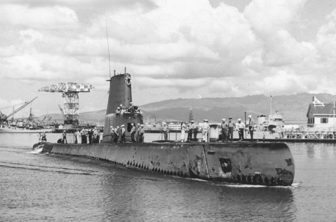 Post guppy Catfish (SS-339) starboard view, underway, probably in Pearl Harbor, HI
