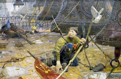 """Repentance"" by  Pavel Viktorovich Ryzhenko. The imagry of the Red Guard, complete with Trotsky cap and fallen banner, when awed by the church bells is powerful."