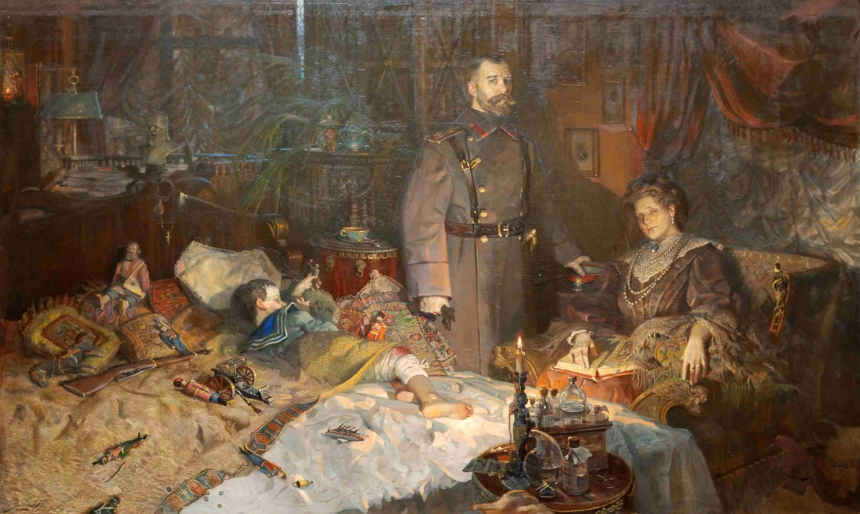 """Confinement in Tsarskoe Selo. Alexander Palace,, 1917"" 2004, by Pavel Ryzhenko. Depicting the Tsar, Tsarina and Heir while under house arrest at their former palace."
