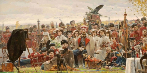 """Picture as a souvenir,"" by the artist, 2007. Depicting a posed photo of the Tsar, his familiy and suite in the summer of 1914 in Poland just weeks before the War and Revolution would sweep them all away."