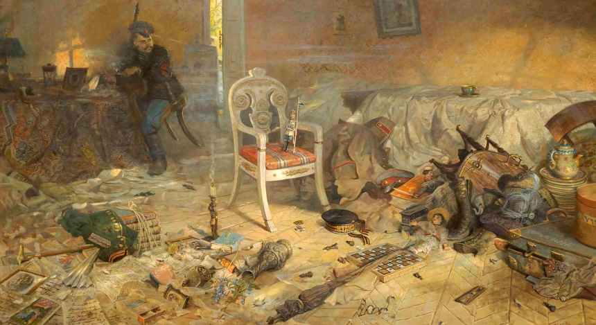 """Ipatiev house after the regicide,"" 2004 by Pavel Ryzhenko. Depicts the last residence of the Tsar and his family. Note the Colonel's shoulder straps cut off on the floor. They were given to Nicholas II by his father Tsar Alexander (hence the ""A""). The Tsar and his entire family were shot in the basement of the Ipatiev house on the night of July 17/18, 1918 and their bodies buried in shallow graves."