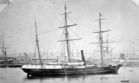 The steam yacht Jeannette, formerly HMS Pandora, HMS Newport's sistership at Le Havre, France, in 1878, prior to her departure for San Francisco, CA. She is flying the US Yacht Ensign and would become the USS Jeanette.