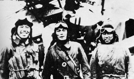 The three successful fighter pilots after the combat on 22 February 1932 Ikuta is on left