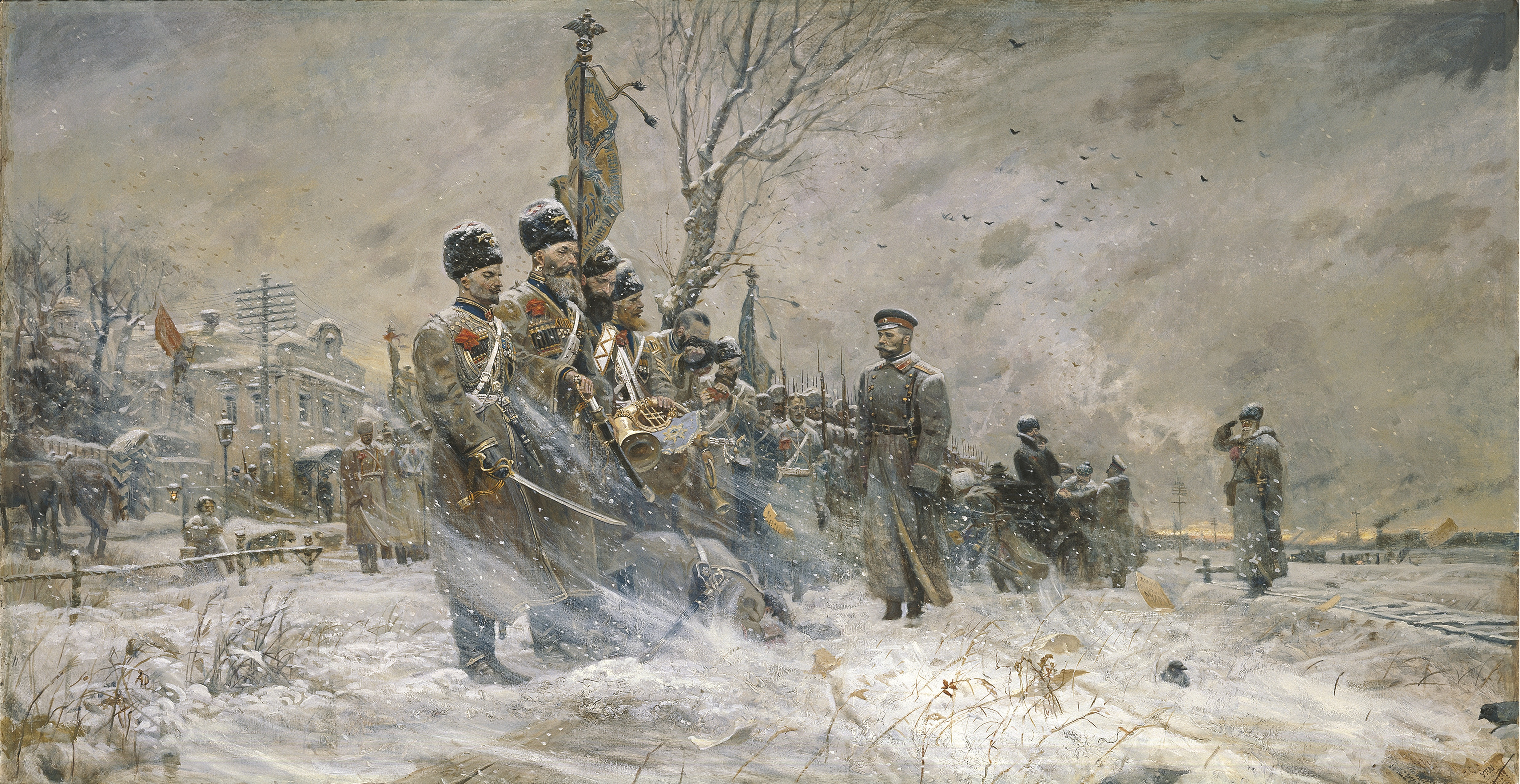 """'The Last Inspection"""" depicting Tsar Nicholas II inspecting the cossacks of the convoy at Pskov March 15, 1917 after he abdicated. The men of the unit in many cases had been with the sovereign for decades and at that moment, was the last loyal force in the country."""