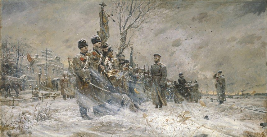 "'The Last Inspection"" depicting Tsar Nicholas II inspecting the cossacks of the convoy at Pskov March 15, 1917 after he abdicated. The men of the unit in many cases had been with the sovereign for decades and at that moment, was the last loyal force in the country."