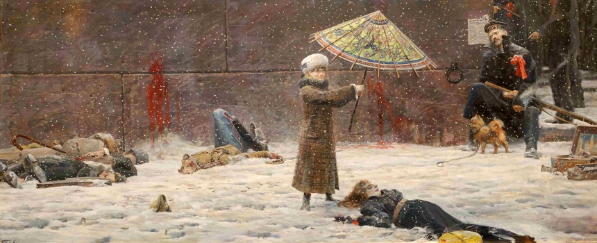 """Umbrella"" showing a psychologically fractured daughter of an Imperial Guards colonel and wife who was just executed by Red Sailors from the battleship Gangut against the walls of the Peter and Paul Fortress in Petrograd 1919. This was regarded by many to be one of Ryzhenko's most controversial pieces."