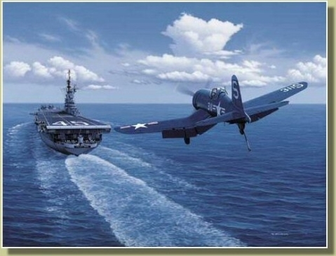 F4U approaching USS Valley Forge CV-45 Painted by Stan Stokes