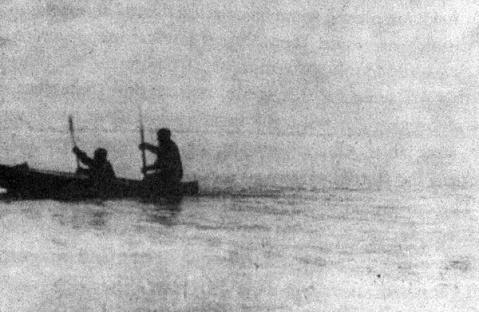 Valerian Albanov and Alexander Conrad float to the schooner St. Fock in their schooner.