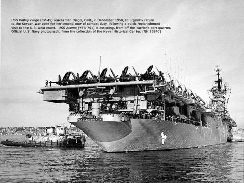 Valley Forge departs San Diego 6 Dec 1950