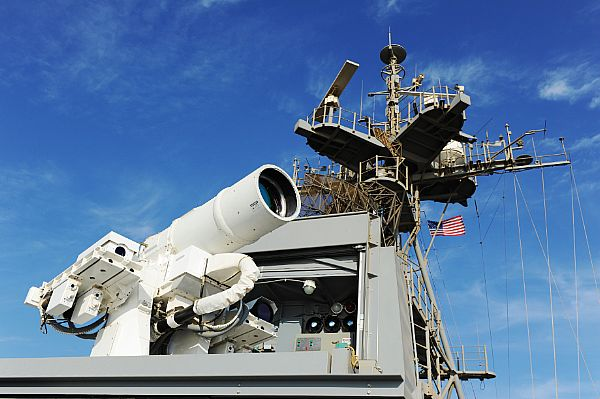 141116-N-PO203-042  ARABIAN GULF (Nov. 16, 2014) The Afloat Forward Staging Base (Interim) USS Ponce (ASB(I) 15) conducts an operational demonstration of the Office of Naval Research (ONR)-sponsored Laser Weapon System (LaWS) while deployed to the Arabian Gulf. (U.S. Navy photo by John F. Williams/Released)